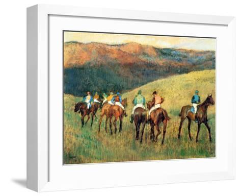 Racehorses in a Landscape-Edgar Degas-Framed Art Print
