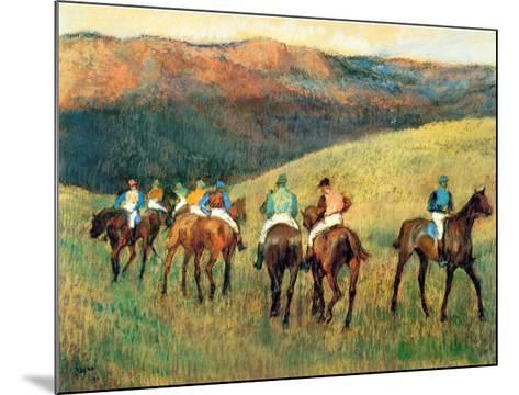 Racehorses in a Landscape-Edgar Degas-Mounted Art Print