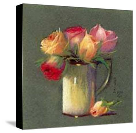 Vase with Rosebuds-Rozsika Hetyei-Ascenzi-Stretched Canvas Print