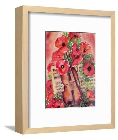 Violin and Poppies-Dina Cuthbertson-Framed Art Print
