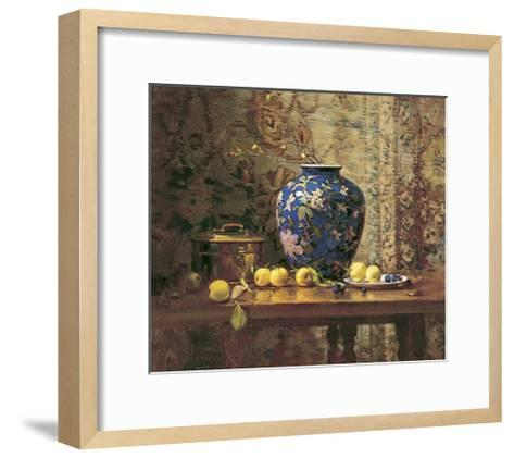 Oriental Vase with Crab Apples-Del Gish-Framed Art Print