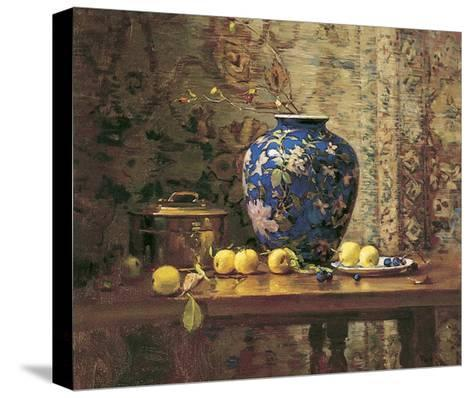 Oriental Vase with Crab Apples-Del Gish-Stretched Canvas Print