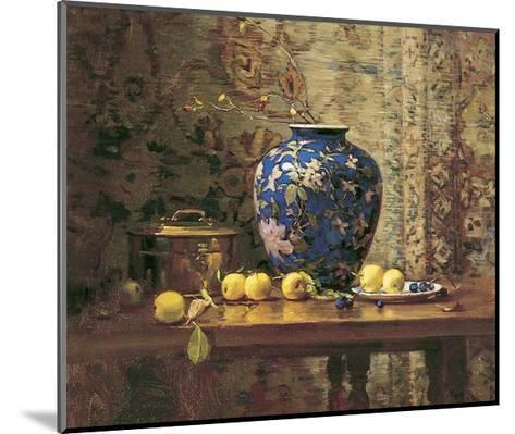 Oriental Vase with Crab Apples-Del Gish-Mounted Art Print