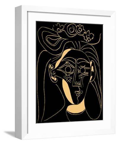 Femme au Chapeau Fleuri-Pablo Picasso-Framed Art Print
