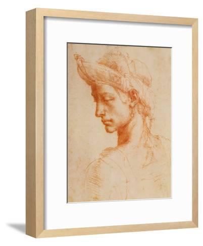 Drawing of a Woman-Michelangelo Buonarroti-Framed Art Print