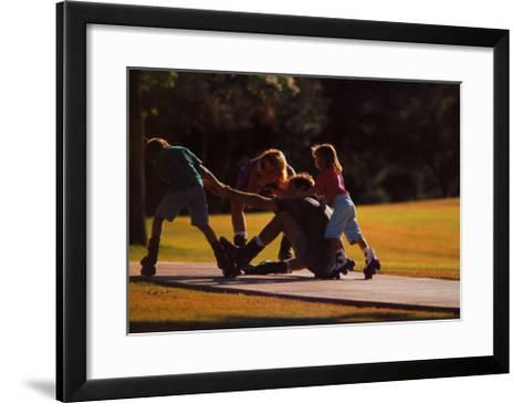 Teamwork: Family of Skaters--Framed Art Print