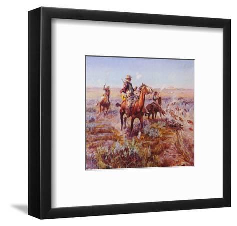 Smokin' 'Em Out-Charles Marion Russell-Framed Art Print
