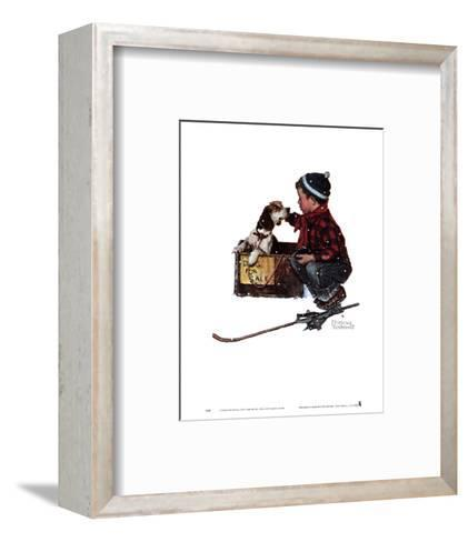 Boy Meets His Dog-Norman Rockwell-Framed Art Print