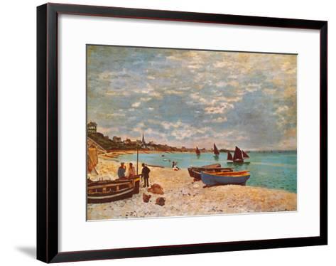 Beach at Sainte-Adresse-Claude Monet-Framed Art Print