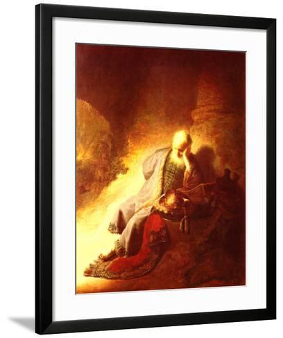 The Prophet Jeremiah Mourning over the Destruction of Jerusalem, 1630-Rembrandt van Rijn-Framed Art Print