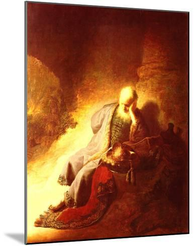 The Prophet Jeremiah Mourning over the Destruction of Jerusalem, 1630-Rembrandt van Rijn-Mounted Art Print