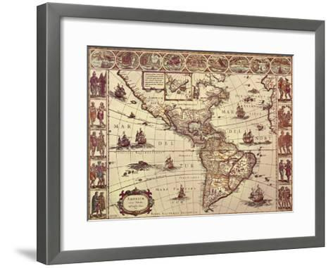Map of North and South America-Joan Blaeu-Framed Art Print