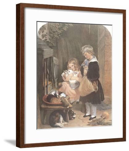 Children and Rabbits-Edwin Henry Landseer-Framed Art Print