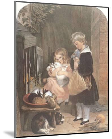 Children and Rabbits-Edwin Henry Landseer-Mounted Art Print