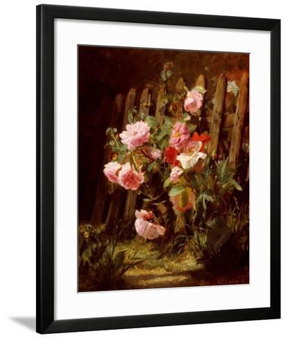 Pink Roses by a Garden Fence-Alfred-Frederic Lauron-Framed Art Print