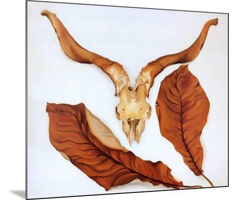 Ram's Skull with Brown Leaves-Georgia O'Keeffe-Mounted Art Print