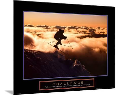 Challenge: Skier in Clouds--Mounted Art Print