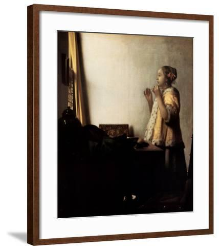 Woman with a Pearl Necklace-Johannes Vermeer-Framed Art Print