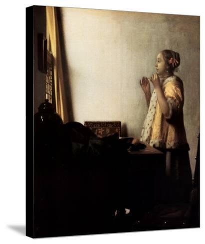 Woman with a Pearl Necklace-Johannes Vermeer-Stretched Canvas Print