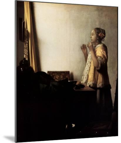 Woman with a Pearl Necklace-Johannes Vermeer-Mounted Art Print