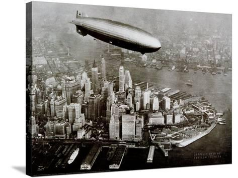 Zeppelin Over New York--Stretched Canvas Print