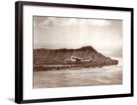 Pan American Clipper over Waikiki, Hawaii, 1935-Clyde Sunderland-Framed Art Print