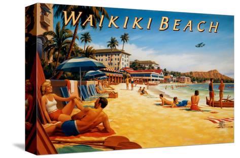 Waikiki Beach-Kerne Erickson-Stretched Canvas Print