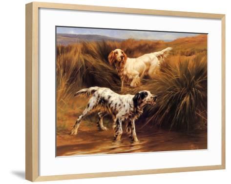 English Setters in a Marshland-Thomas Blinks-Framed Art Print