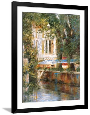 Awnings by the Canal-Michael Longo-Framed Art Print