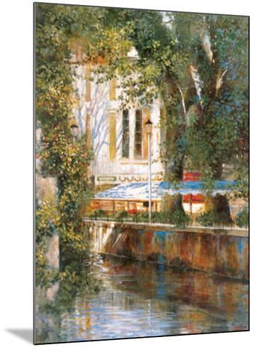 Awnings by the Canal-Michael Longo-Mounted Art Print