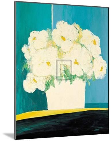 Fleurs Blanches au Pot Blanc-B^ Payet-Mounted Art Print