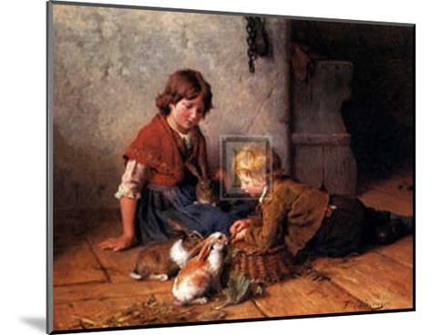 Feeding the Rabbits-Felix Schlesinger-Mounted Art Print