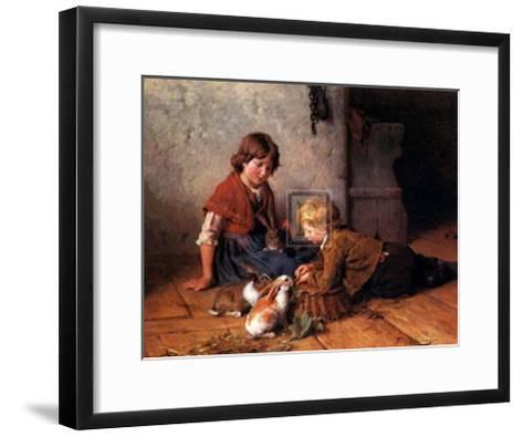 Feeding the Rabbits-Felix Schlesinger-Framed Art Print