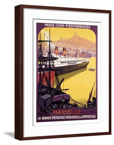 Marseille, Metropole Industrielle-Roger Broders-Framed Art Print