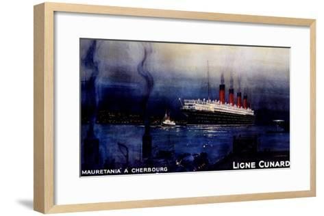 Cunard Line, Mauretania to Cherbourg-Kenneth Shoesmith-Framed Art Print