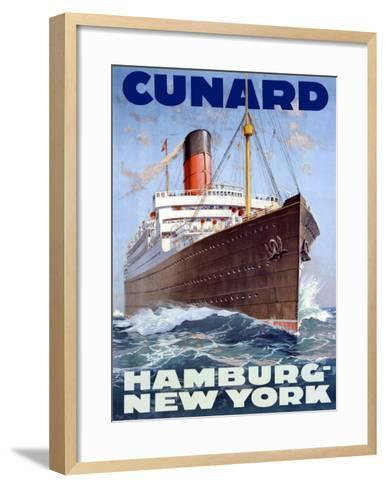 Cunard Line, Hamburg to New York-Hans Bohrdt-Framed Art Print