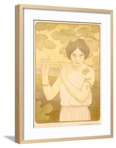 La Joyeuse de Flute-Paul Berthon-Framed Art Print