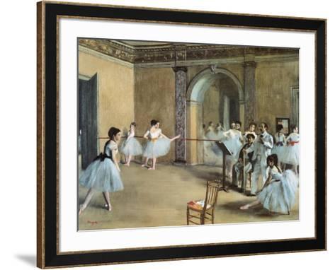 The Dance Foyer at the Opera on the Rue Le Peletier-Edgar Degas-Framed Art Print