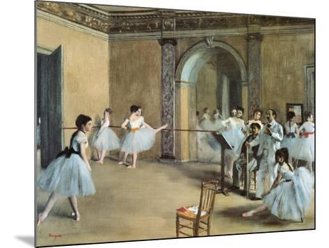 The Dance Foyer at the Opera on the Rue Le Peletier-Edgar Degas-Mounted Art Print