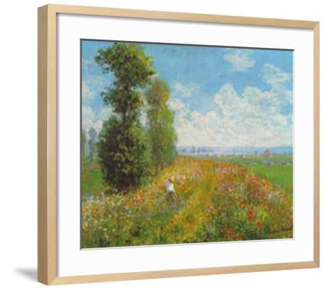 Meadow With Poplars-Claude Monet-Framed Art Print