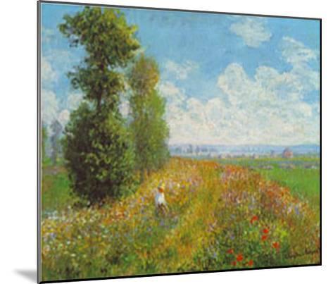 Meadow With Poplars-Claude Monet-Mounted Art Print