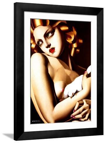 Woman with Dove-Tamara de Lempicka-Framed Art Print