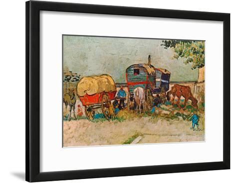 Caravans Encampment of Gypsies-Vincent van Gogh-Framed Art Print