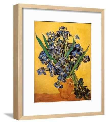 Vase of Irises Against a Yellow Background, c.1890-Vincent van Gogh-Framed Art Print