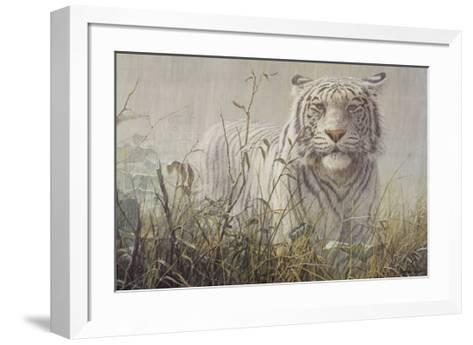 Monsoon- White Tiger (detail)-John Seerey-Lester-Framed Art Print