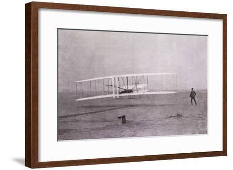 Wright Brothers Flight at Kitty Hawk--Framed Art Print