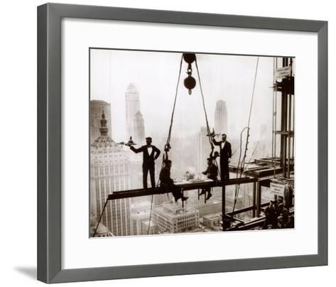 Lunch above Manhattan--Framed Art Print