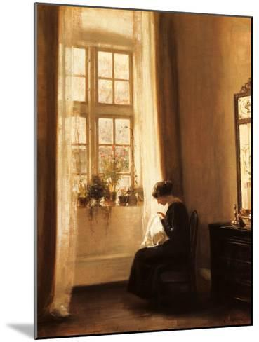 Girl Sewing in an Interior-Carl Holsoe-Mounted Art Print