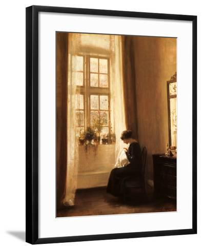 Girl Sewing in an Interior-Carl Holsoe-Framed Art Print