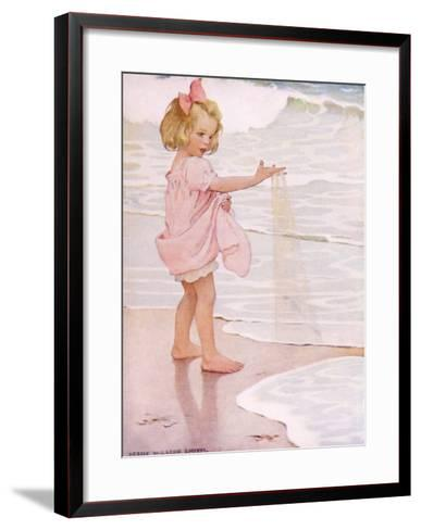 Young Girl in the Ocean Surf-Jessie Willcox-Smith-Framed Art Print